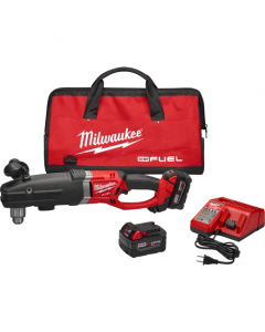 """Milwaukee 2709-22 M18 Fuel 18V Lithium-Ion Cordless Super Hawg 1/2"""" Right Angle Drill Kit, 5.0Ah Batteries"""