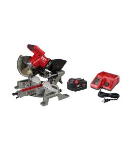 "Milwaukee 2733-21 M18 Fuel 7-1/4"" Dual Bevel Sliding Compound Miter Saw Kit, 5.0Ah Batteries"