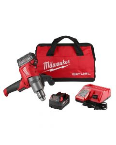 "Milwaukee 2810-22 M18 Fuel 18V Lithium-Ion Brushless 1/2"" Mud Mixer with 180° Handle Kit, 5.0Ah Batteries"
