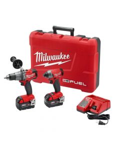 "Milwaukee 2897-22 M18 Fuel 18V Brushless Cordless 1/2"" Hammer Drill and 1/4"" Impact Driver Combo Kit, 5.0Ah Batteries"