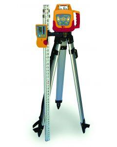 PLS HVR505R Kit, Horizontal/Vertical Rotary Laser Level with Detector, Tripod, Grade Rod (Red Beam)