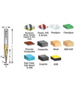 Solid Carbide 2D and 3D Carving Tapered Ball Nose (Conical Ball), Zirconium Nitride (ZrN) Coated Router Bits