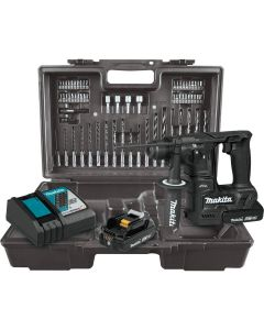 "Makita XRH06RBX 18V LXT Lithium-Ion Sub-Compact Cordless 11/16"" Rotary Hammer Kit, 2.0 Ah Batteries, with 65-Piece Accessory Kit"