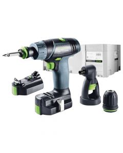 Festool 564514 10.8V Lithium-Ion TXS Cordless Drill Set with Right Angle Chuck, 2.6Ah Batteries