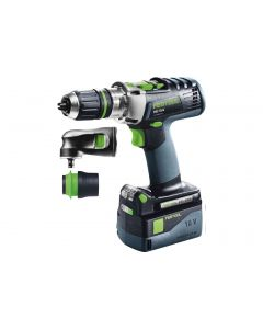Festool 574708 PDC18/4 SET 18V QuaDrive Hammerdrill Driver Set/Kit with Right Angle Chuck, Batteries, Charger & Systainer