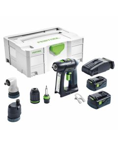 Festool 574735 18V Lithium-Ion C18 Set Cordless Drill Kit, 5.2Ah Batteries
