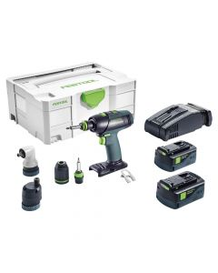 Festool 574761 T18+3 Lithium-Ion Cordless Drill Set, 5.2Ah Batteries