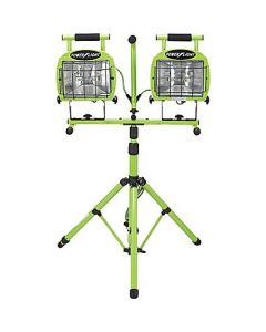 Coleman Cable L5502 2-in-1 Tripod Twin-Head Work Light, 1400 W, Halogen