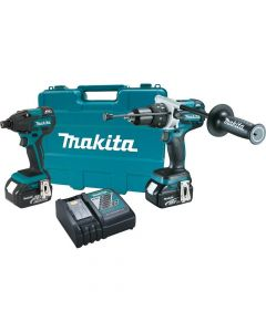 Makita XT257M 18V LXT Lithium-Ion Brushless Cordless Hammer Drill/Impact Driver Combo Kit, 4.0Ah Batteries
