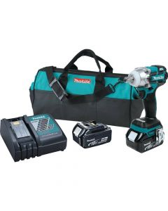 "Makita XWT02M 18V LXT Lithium-Ion Cordless 1/2"" Impact Wrench Kit, 4.0Ah Batteries"