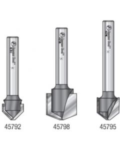 3-Pc. Carbide Tipped V Groove 90, 108 and 135 Degree Angles for Double Edge Folding Aluminum Composite Material (ACM) Panels 1/4 Inch Shank Router Bit Set