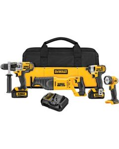 DeWalt DCK490L2 20V MAX Li-Ion 4-Tool Cordless Combo Kit, 3.0 Ah (Hammerdrill / Impactor / Recip / Flashlight)
