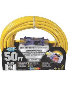 50' 12/3 Extension Cord with Lighted Locking Connector