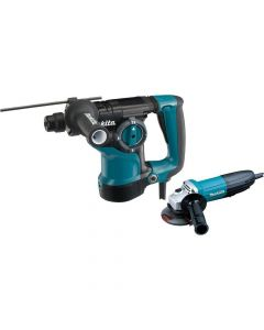 "Makita HR2811FX 1‑1/8'' Rotary Hammer SDS‑Plus with 4‑1/2"" Angle Grinder"