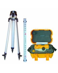 Pacific Laser Systems PLS 24X Automatic Optical Level Kit with Tripod & Grade Rod (PLS-60497)