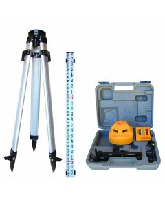 Pacific Laser Systems PLS 360 Red 360-Degree Horizontal Laser Level Kit with SLD Detector, Tripod & Grade Rod (PLS-60537)