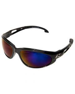 Edge Eyewear SW118 Dakura Safety Glasses, Black with Blue Mirror Lens
