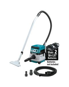 Makita XCV08Z 18V X2 LXT (36V) Brushless Cordless 2.1 Gallon HEPA Filter Dry Dust Extractor/Vacuum with AWS, Bare Tool