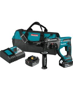 "Makita XRH03T 18V LXT Lithium‑Ion SDS‑Plus Cordless 7/8"" Rotary Hammer Kit, 5.0Ah Batteries"