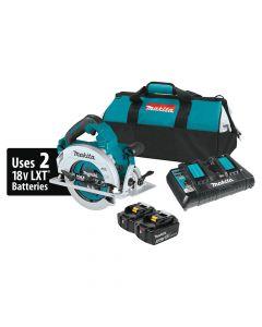 """Makita XSH06PT 18V X2 LXT Lithium‑Ion Cordless 7‑1/4"""" Circular Saw Kit, 5.0Ah Batteries"""