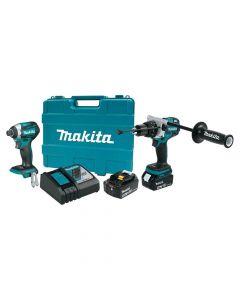 Makita XT268T 18V LXT Lithium‑Ion Cordless 2‑Piece Combo Kit, 5.0Ah Batteries